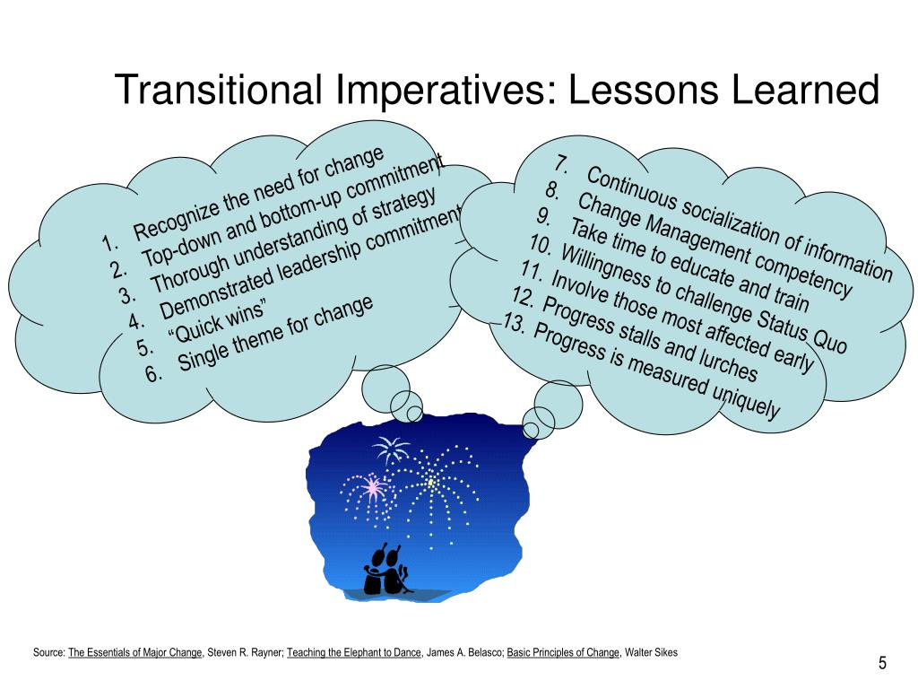 Transitional Imperatives: Lessons Learned