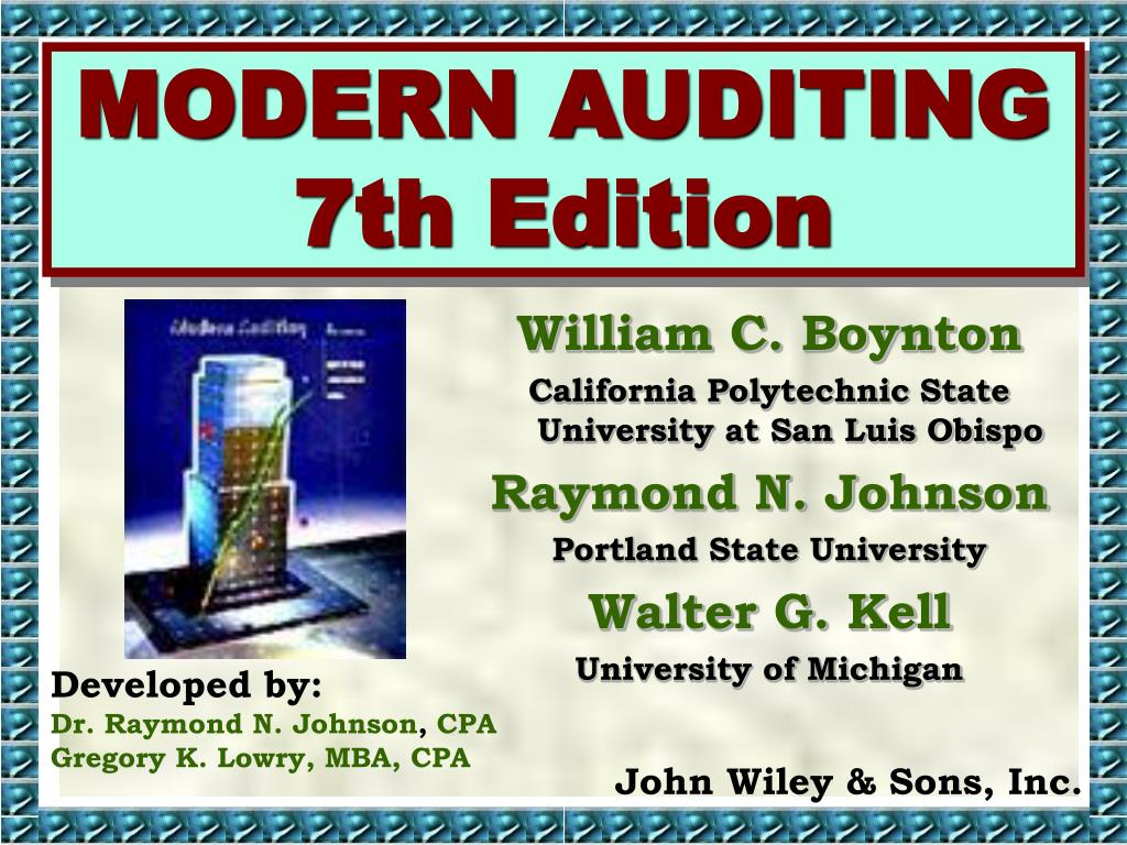 modern auditing 7th edition l.