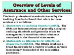 overview of levels of assurance and other services