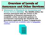 overview of levels of assurance and other services5