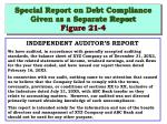special report on debt compliance given as a separate report figure 21 4