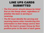 line ups cards submitted