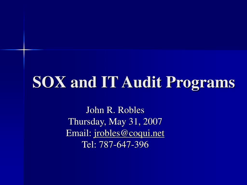 sox and it audit programs l.