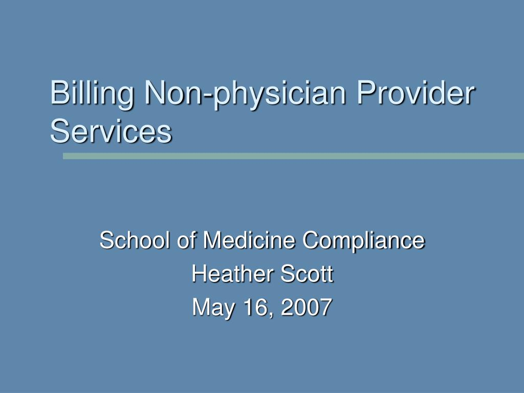 billing non physician provider services l.