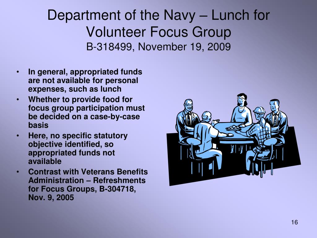 Department of the Navy – Lunch for Volunteer Focus Group