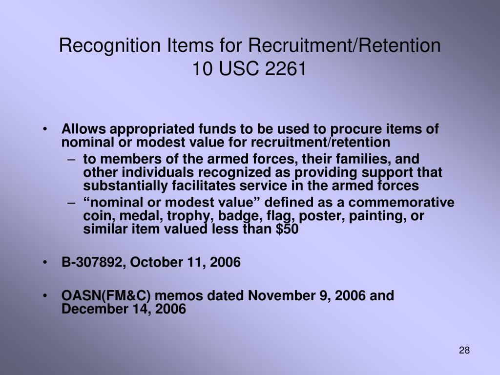 Recognition Items for Recruitment/Retention