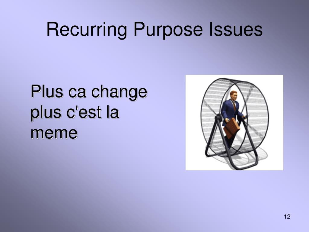 Recurring Purpose Issues