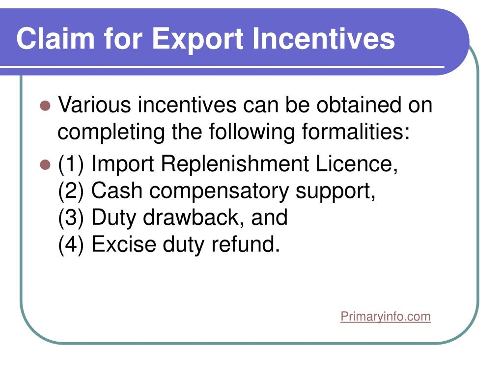 Claim for Export Incentives