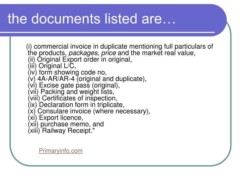 the documents listed are…