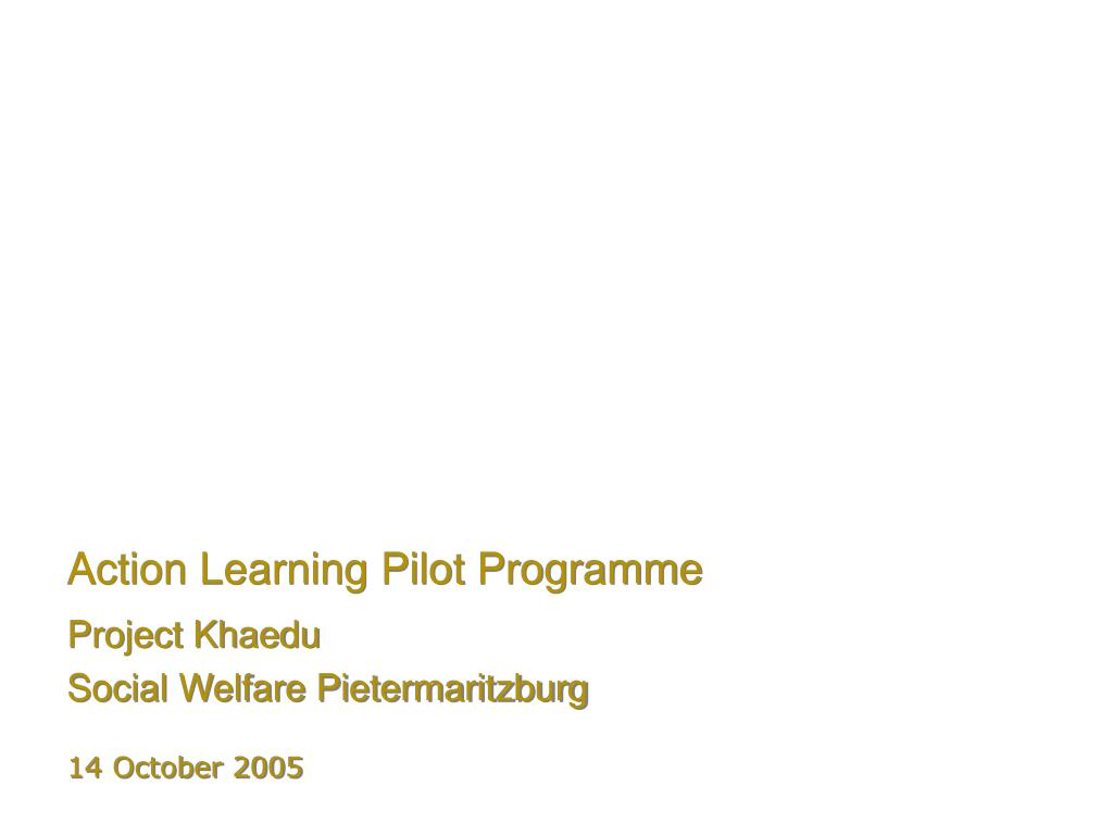 action learning pilot programme l.