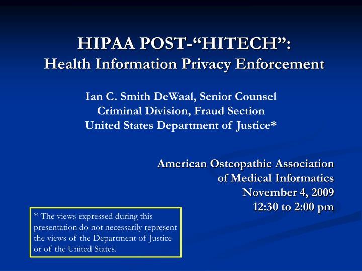 hipaa post hitech health information privacy enforcement n.