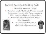 earliest recorded building code