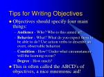 tips for writing objectives