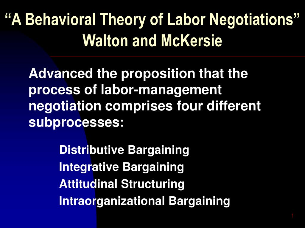 a behavioral theory of labor negotiations walton and mckersie l.