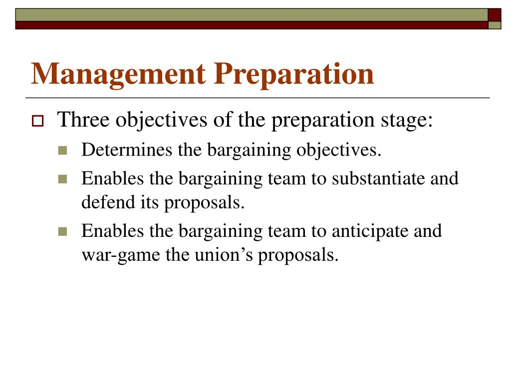 Management Preparation