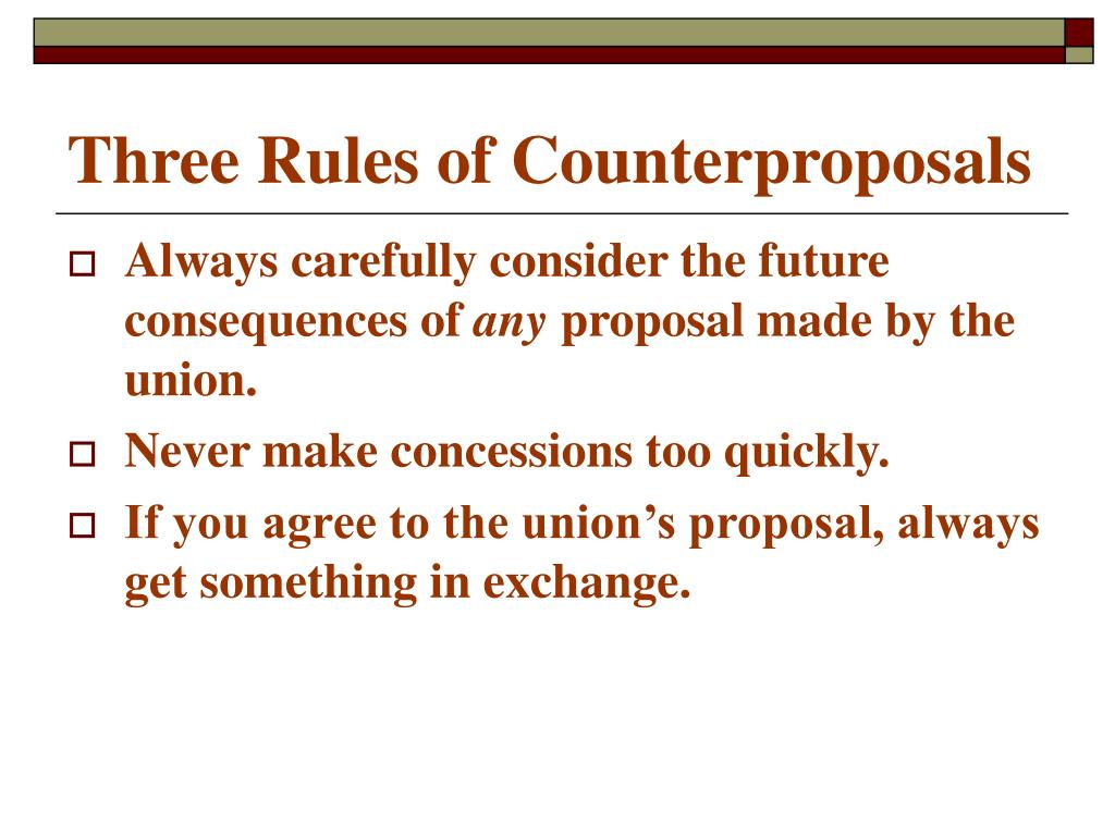 Three Rules of Counterproposals