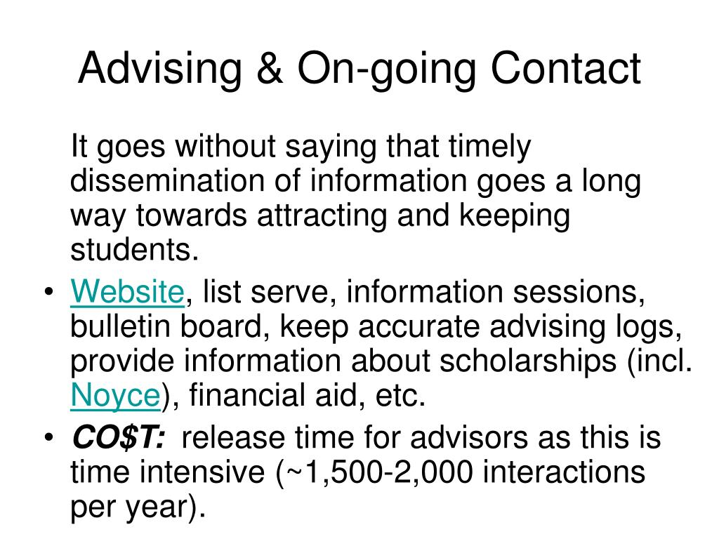 Advising & On-going Contact