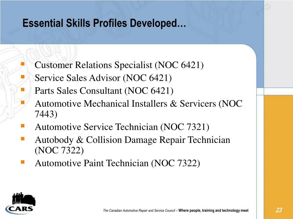 Essential Skills Profiles Developed…