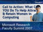 call to action what can you do to help attract retain women in computing