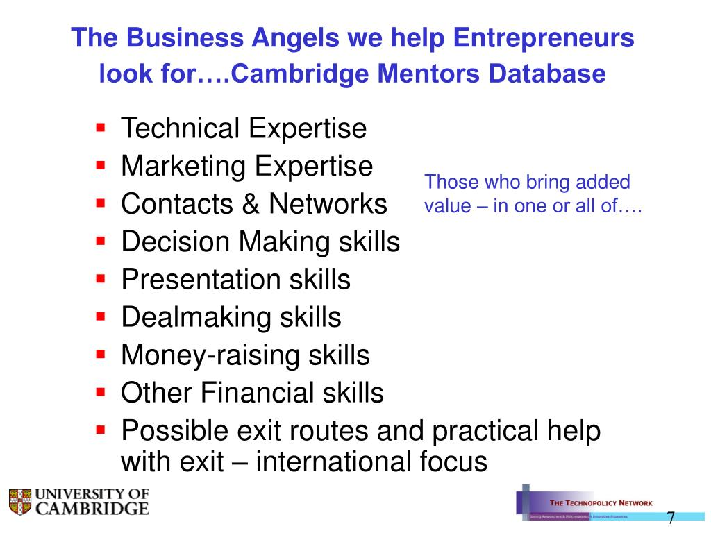 The Business Angels we help Entrepreneurs look for….Cambridge Mentors Database