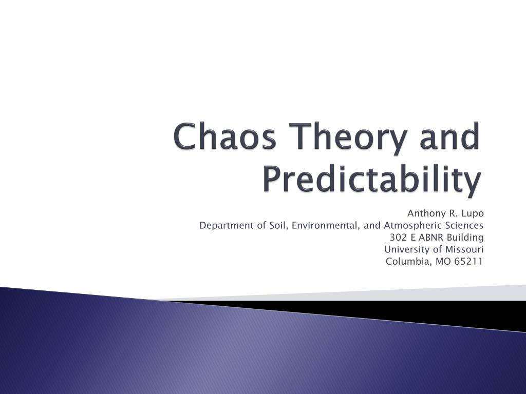 chaos theory and predictability l.