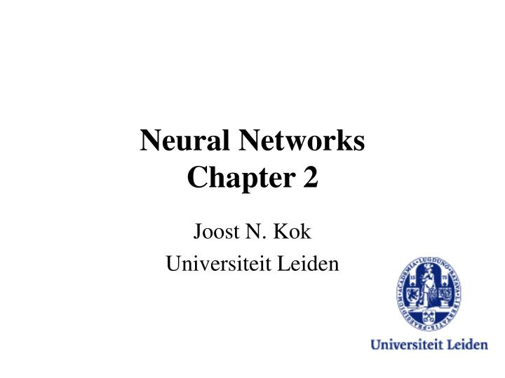 Neural networks chapter 2