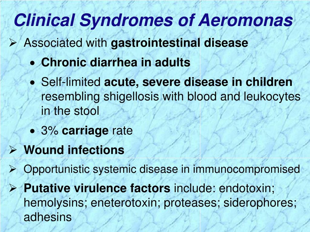Clinical Syndromes of Aeromonas