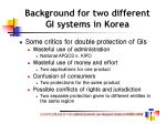 background for two different gi systems in korea21