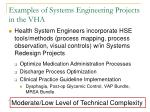 examples of systems engineering projects in the vha43