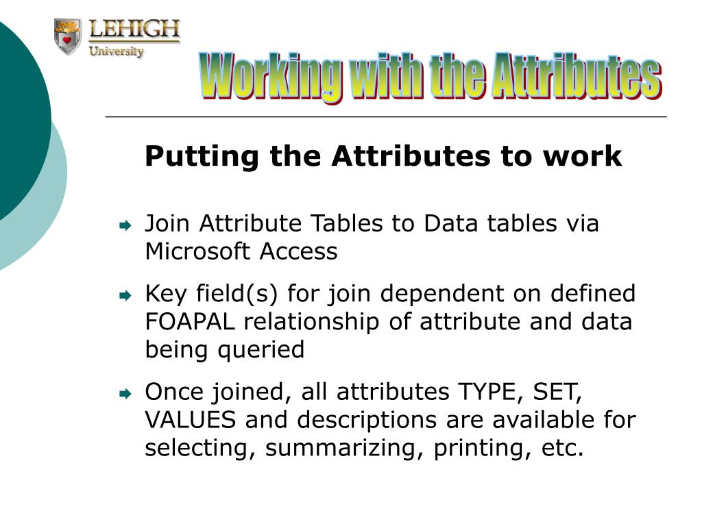 Working with the Attributes