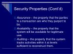 security properties cont d