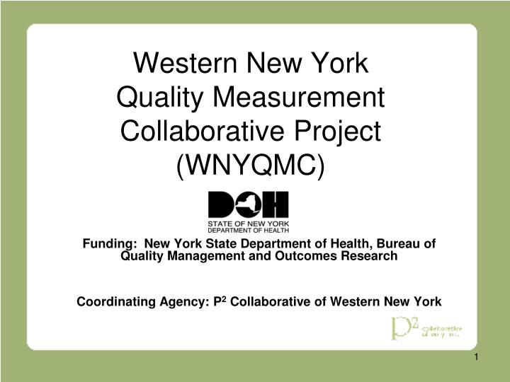 Western new york quality measurement collaborative project wnyqmc