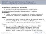 eucar input to eu research programme summary of high priority research needs for the future