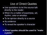 use of direct quotes