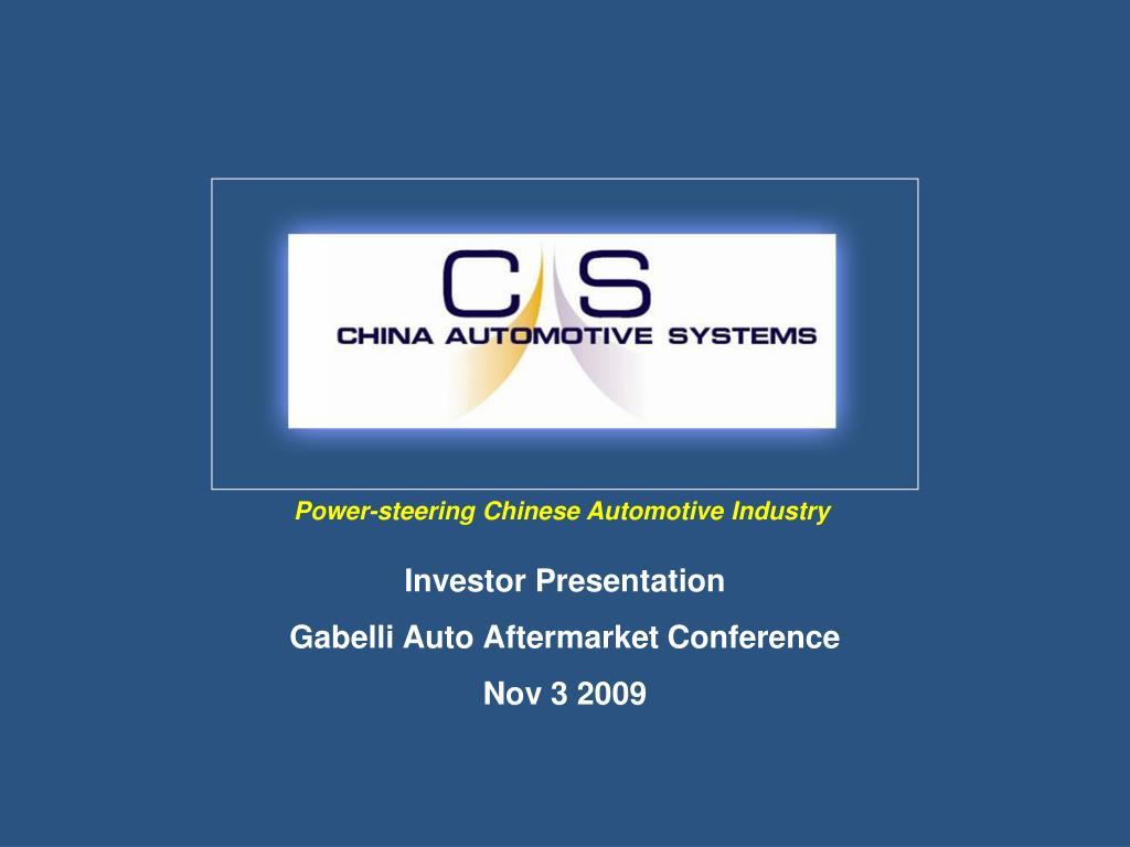 investor presentation gabelli auto aftermarket conference nov 3 2009 l.