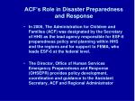 acf s role in disaster preparedness and response