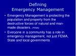 defining emergency management