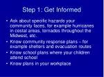 step 1 get informed