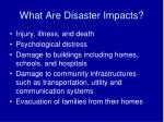 what are disaster impacts