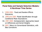 panel data and sample selection models a nonlinear time series