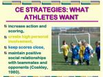 ce strategies what athletes want