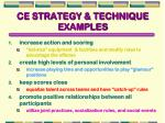 ce strategy technique examples