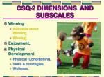 csq 2 dimensions and subscales