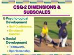 csq 2 dimensions subscales