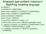 knapsack type problem instance in mathprog modeling language