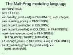the mathprog modeling language