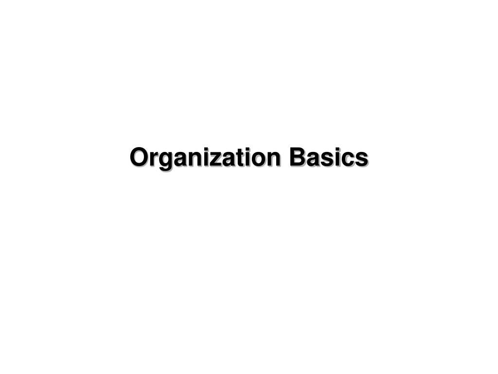 Organization Basics