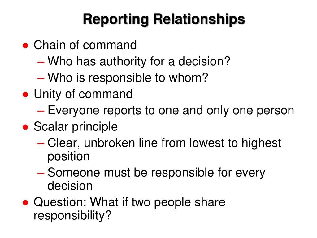 Reporting Relationships