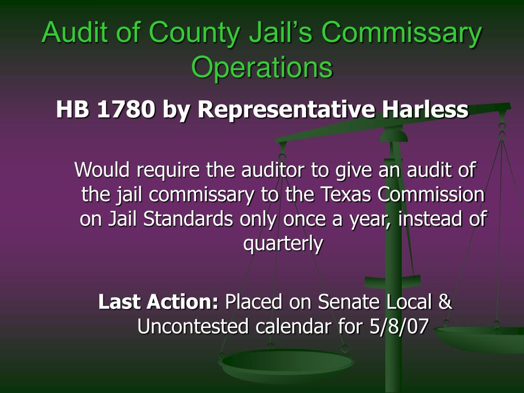 Audit of County Jail's Commissary Operations
