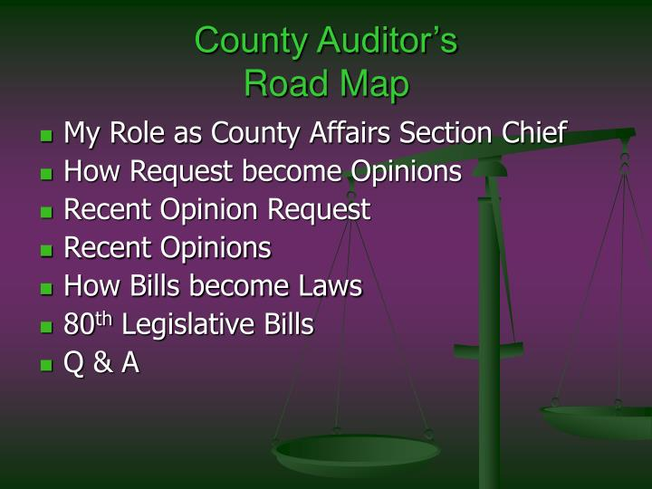 County auditor s road map